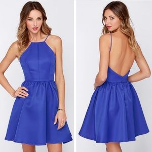 Lulus Chic and Repeat Blue Backless Dress Medium